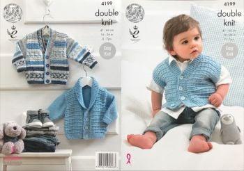 King Cole Knitting Pattern 4199 Jackets & Waistcoat