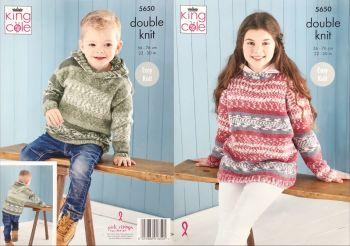 King Cole Knitting Pattern 5650 Sweater & Hoodie