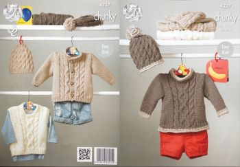King Cole Knitting Pattern 4227 Sweaters, Jacket & Hats