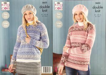 King Cole Knitting Pattern 5653 Sweater & Tunic