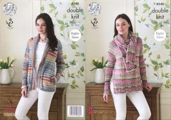 King Cole Knitting Pattern 4546 Jacket, Sweater & Scarf