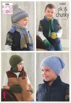 King Cole Knitting Pattern 5202 Boy's Hats, Scarves, Gloves & Mittens