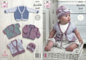 King Cole Knitting Pattern 5215 Cardigans, Coat & Hat