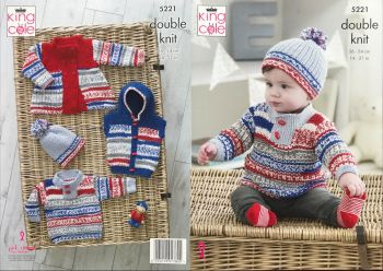 King Cole Knitting Pattern 5221 Coat, Gilet, Sweater & Hat