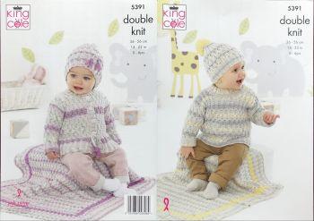 King Cole Knitting Pattern 5391 Sweater, Cardigan, Hats & Blanket