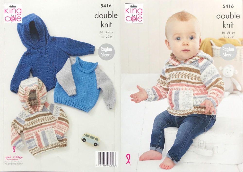 King Cole Pattern 5416 Babies Raglan Sweaters