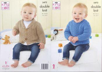 King Cole Knitting Pattern 5472 Babies Sweater & Jacket
