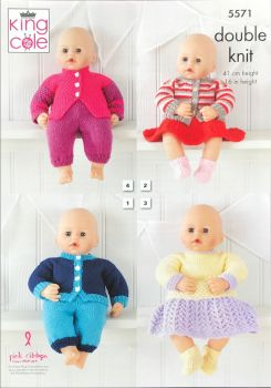 King Cole Knitting Pattern 5571 Dolls Clothes