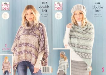 King Cole Knitting Pattern 5652 Ladies Ponchos, Snood & Shawl