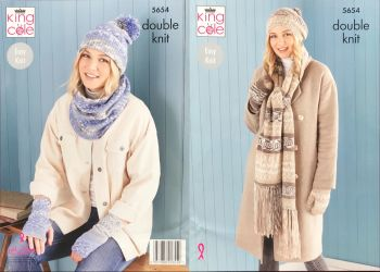 King Cole Knitting Pattern 5654 Scarf, Wristwarmers, Hats, Mitts & Snood