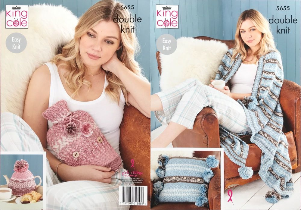 King Cole Pattern 5655 Cushion, Throw, Tea Cosy & Hot Water Bottle Cover