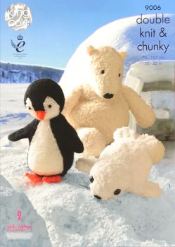 King Cole Pattern 9006 Penguin, Polar Bear and Seal Toys