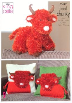 King Cole Pattern 9089 Tinsel Highland Cow & Cushion Cover