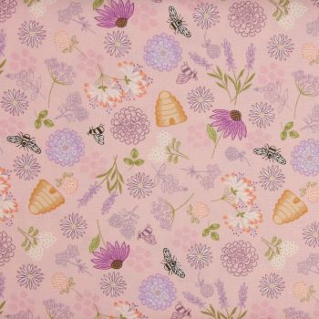 Lewis and Irene Queen Bee - Bee Floral on Pink (£12.60pm)