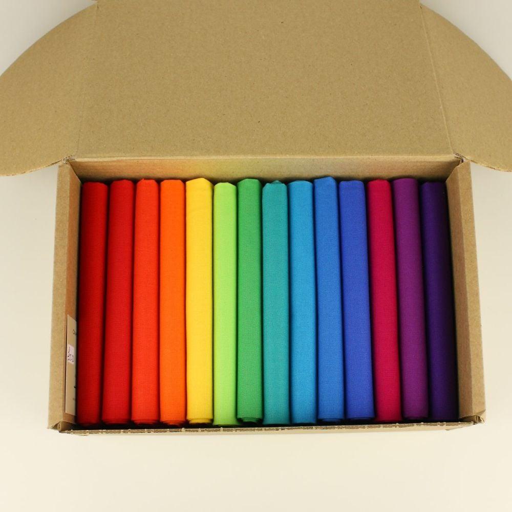 Brights 14 Fat Quarter plain fabric bundle box