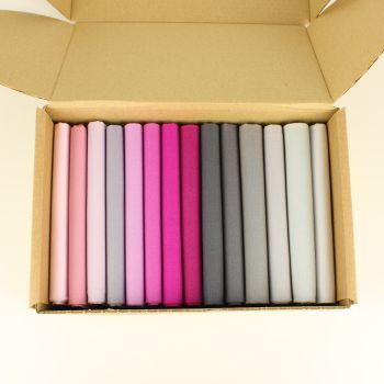 Greys & Pinks 14 Fat Quarter plain fabric bundle box