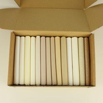 Naturals 14 Fat Quarter plain  & Twist fabric bundle box