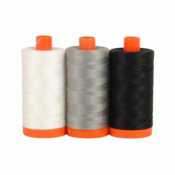 Aurifil 50wt Colour Builder - Carrara Black & White