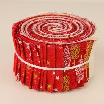 Makower Red Scandi Metallic Christmas Jelly Roll