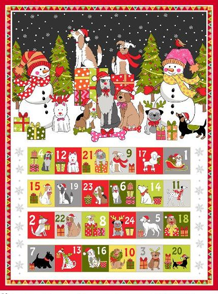 Fabric Advent Panel with dogs
