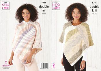 King Cole Knitting Pattern 5785 Ladies Ponchos