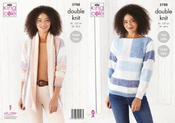 King Cole Knitting Pattern 5788 Ladies Sweater & Jacket