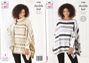 King Cole Knitting Pattern 5786 Ladies Tabbards