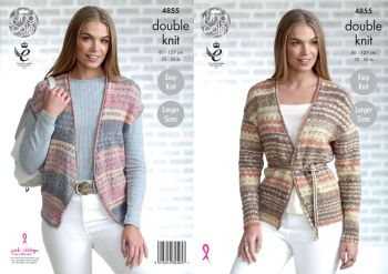 King Cole Knitting Pattern 4855 Ladies Cardigan & Waistcoat