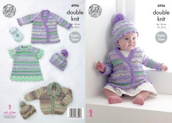 King Cole Knitting Pattern 4996 Baby Jackets, Hats & Dress