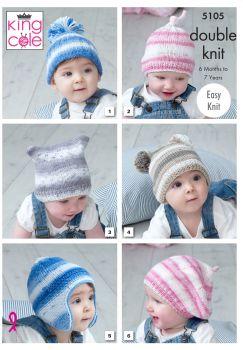 King Cole Knitting Pattern 5105 Childrens Hats