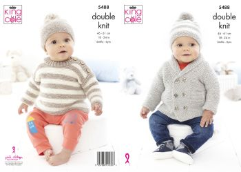 King Cole Knitting Pattern 5488 Jacket, Sweater & Hat