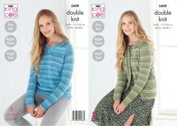 King Cole Knitting Pattern 5608 Sweater & Cardigan
