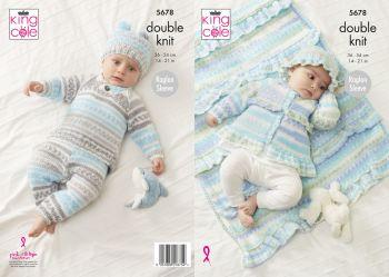 King Cole Knitting Pattern 5678 Sweater, Pants, Jacket, Hat & Blanket
