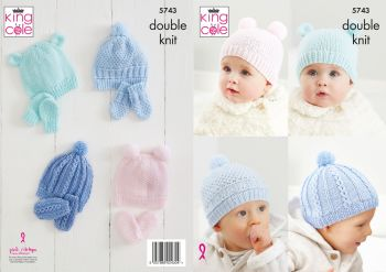 King Cole Knitting Pattern 5743 Hats & Mitts