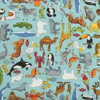 Makower - Around the World - Animals Blue (£12pm)