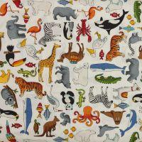 Makower - Around the World - Animals White (£12pm)