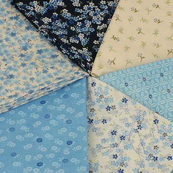 Makower Tranquility Collection - Blue's 6 fat quarter bundle