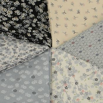 Makower Tranquility Collection - Grey / Silver Collection 6 fat quarter bundle