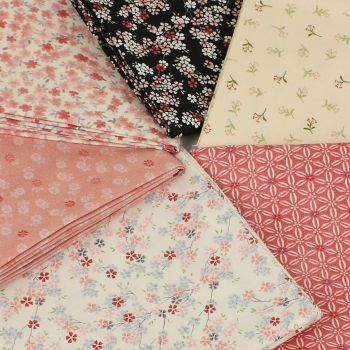 Makower Tranquility Collection - Pink Collection 6 fat quarter bundle