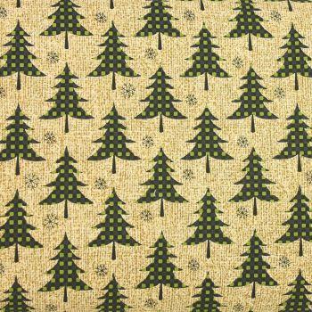 Jinglebell Christmas - Plaid Trees Green/Tan (£13pm)