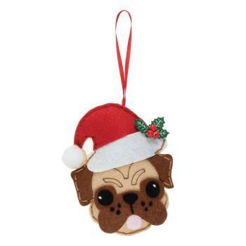 Pug with Santa Hat Felt Kit
