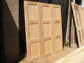 Set of 3 large reclaimed stripped pine cupboard doors