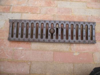 "Antique Cast Iron Drain Culvert Covers Grill 20"" x 5"" ACO"