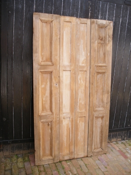 Victorian stripped pine window shutters