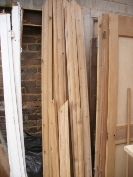 Reclaimed Victorian stripped pitch pine banister / handrail / stair rail