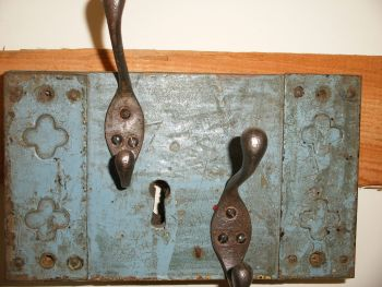 Antique Wooden Upcycled Coat Rack Reclaimed Rimlock Cast Iron Hooks