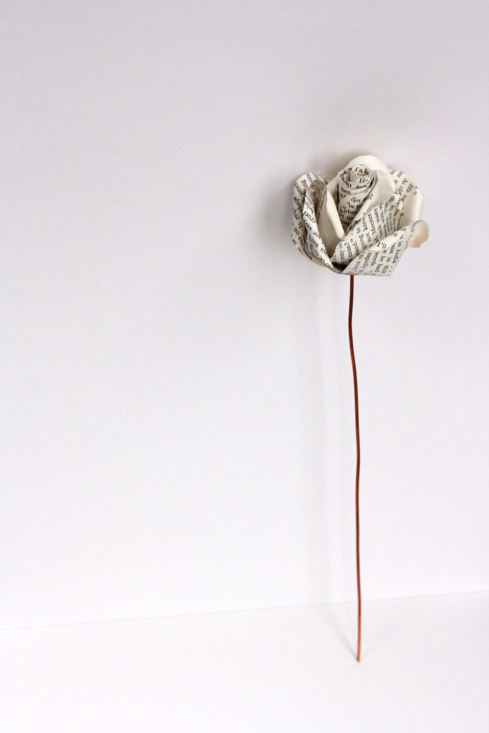 Single Vintage Handmade Paper Rose with Copper Stem