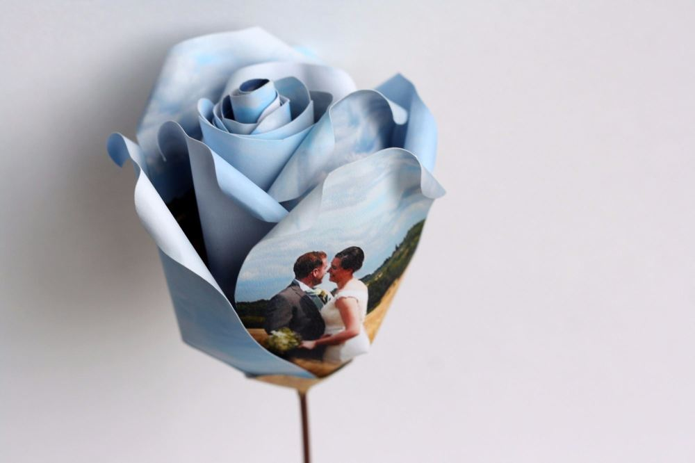 Single Personalised Photograph Paper Rose with Display Box