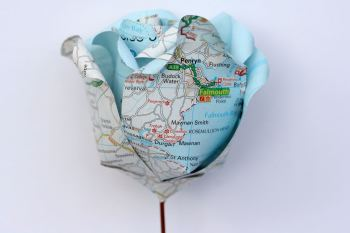 Single Personalised Handmade Upcycled UK Road Map Paper Rose with Copper Stem and Display Box