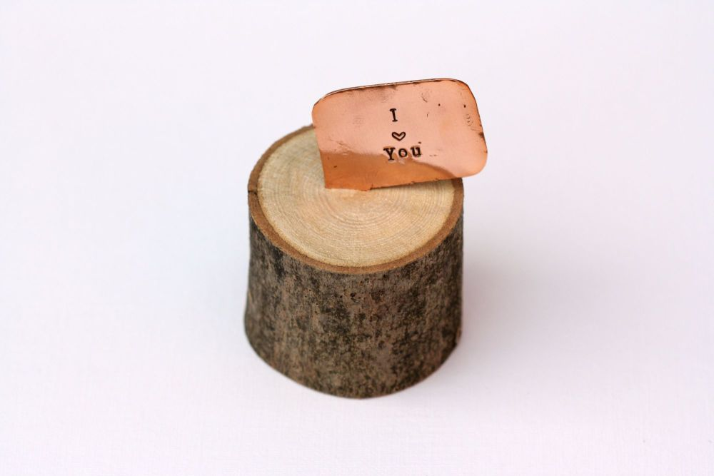 Wooden Log & Copper Quote Display - I <3 You